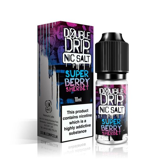 wholesale price Double Drip 10ml Nic Salt Range E-liquid Flavor: Super Berry Sherbet | Strength: 10mg/ml