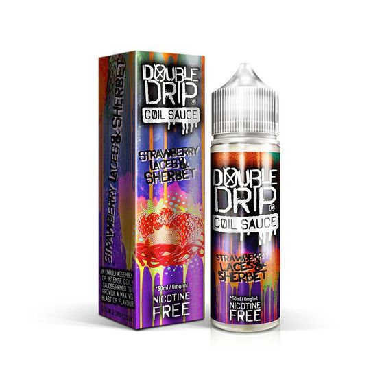 for wholesale Double Drip 50ml Shortfill E-liquid Flavor: STRAWBERRY LACES & SHERBET | Strength: 0mg/ml