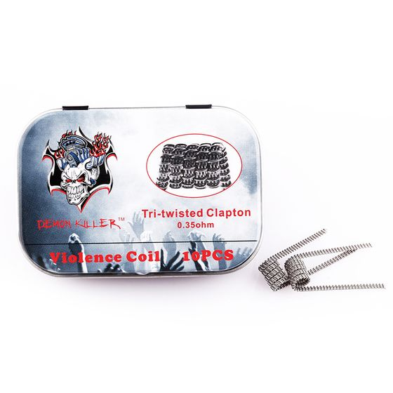 authentic Demon Killer Kanthal Prebuilt Voilence Coil 10pcs Type: Tri-twisted Clapton 0.35ohm
